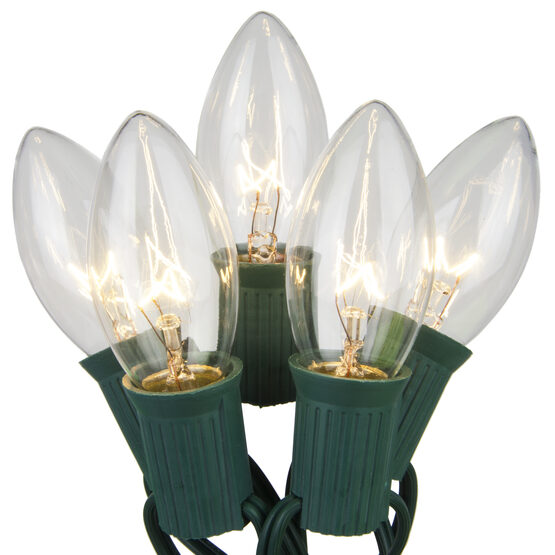 C9 Commercial String Lights, Clear Bulbs