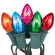 C7 Commercial String Lights, Twinkle Multicolor Bulbs