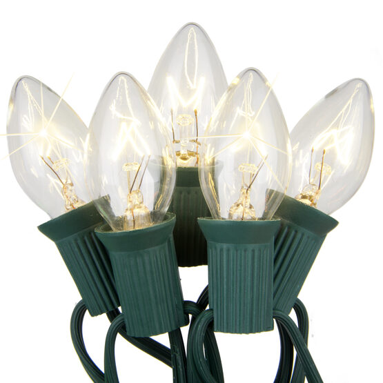 C7 Commercial String Lights, Twinkle Clear Bulbs