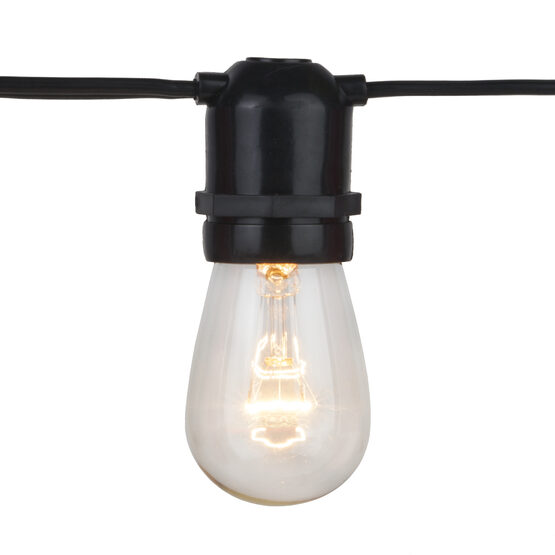 Commercial Patio Light String, E26 Medium Sockets, Black Wire