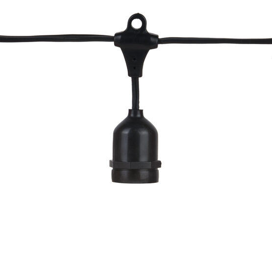 Commercial Patio Light String, Suspended E26 Medium Sockets, Black Wire