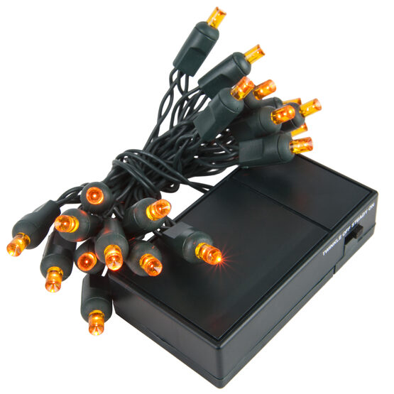 LED Battery Operated Lights, Amber 5mm Bulbs, Green Wire