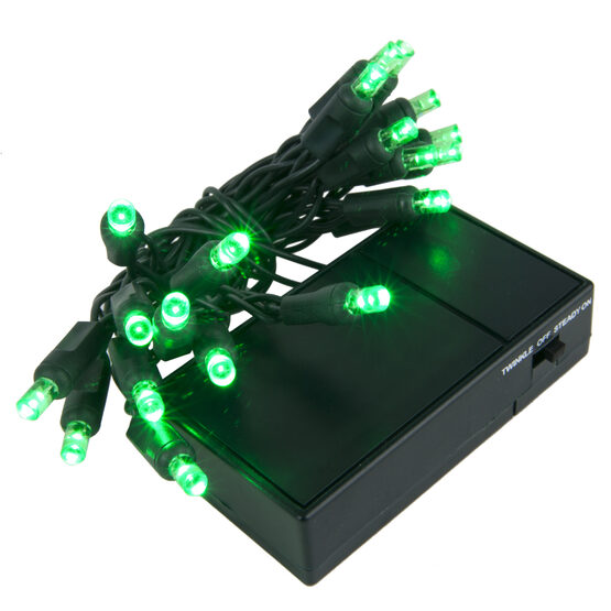 LED Battery Operated Lights, Green 5mm Bulbs, Green Wire