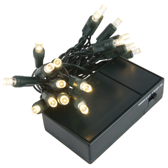 LED Battery Operated Lights, Warm White 5mm Bulbs, Green Wire