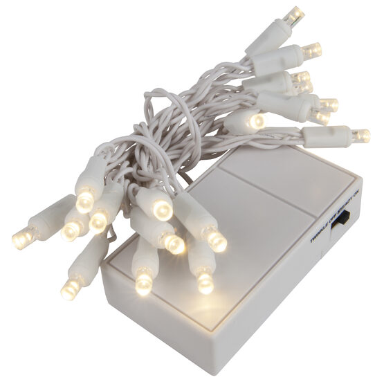 LED Battery Operated Lights, Warm White 5mm Bulbs, White Wire