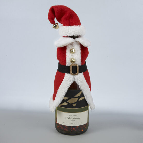 Red Santa Jacket Wine Bottle Cover