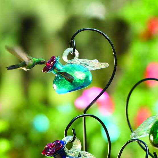 Pixie Winged Glass Stake Hummingbird Feeder