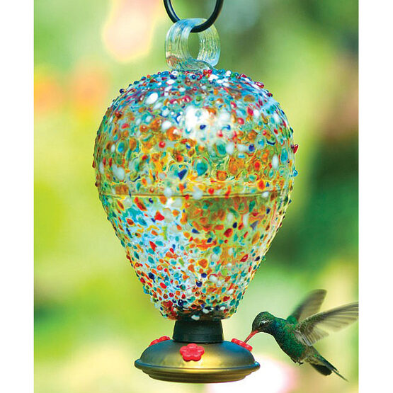 Eighty Days Sprinkles Glass Hummingbird Feeder