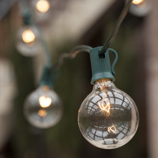 Globe String Lights, Clear G50 Bulbs, Green Wire