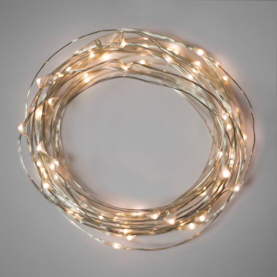 10' LED Fairy Lights, Warm White, Silver Wire