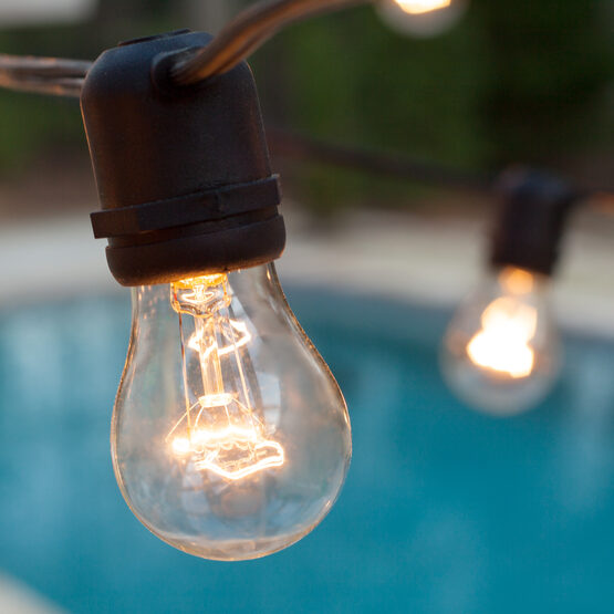 Commercial Patio String Lights, Clear A15 Bulbs