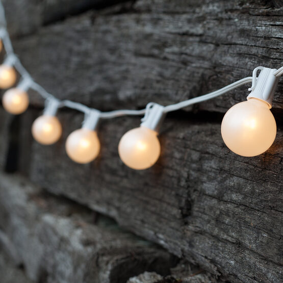 Globe String Lights, White G50 Satin Bulbs, White Wire