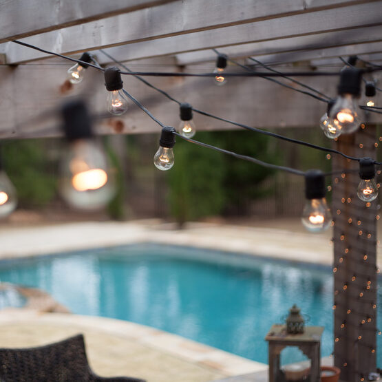 String Lights E26 : Commercial Patio Light String, E26 Medium Sockets, Black Wire - Yard Envy