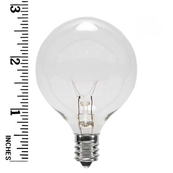 G50 Globe Bulbs, Clear, E12 Base
