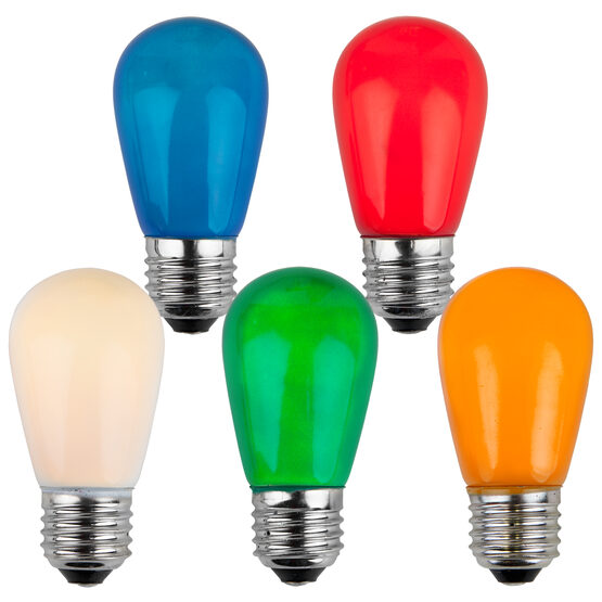 S14 Colored Party Bulbs, Multicolor Opaque