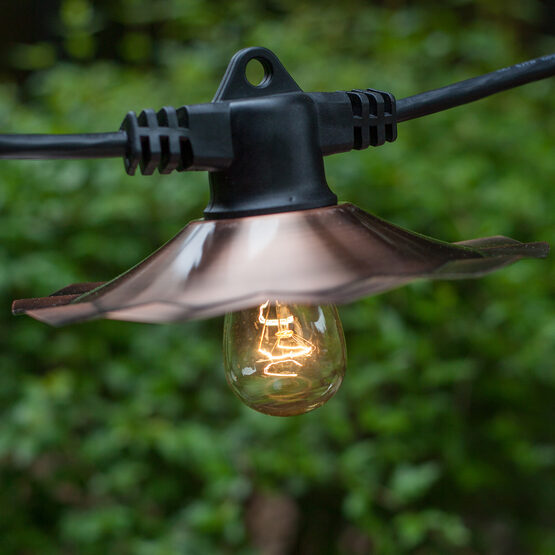 Commercial Patio Light String, E26 Medium Sockets, Includes Copper ShadesBlack Wire