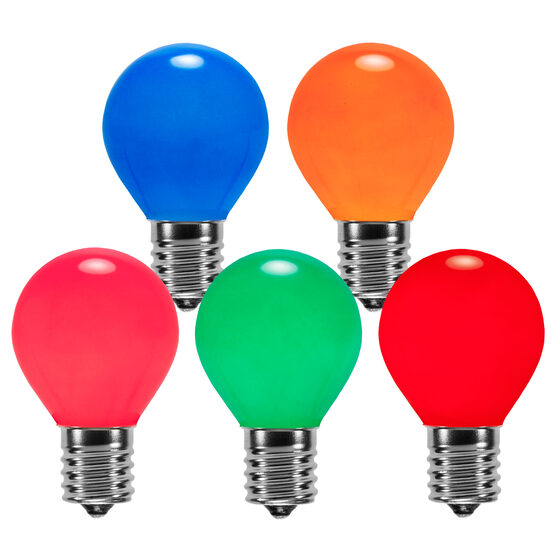 S11 Colored Party Bulbs, Multicolor Opaque
