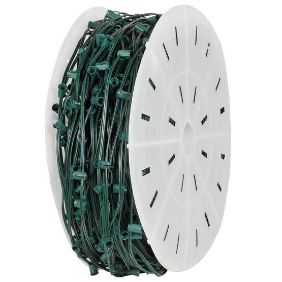 C7 Commercial Light String Spool, E12 Candelabra Sockets, Green Wire