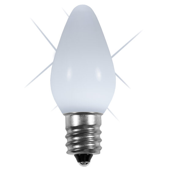 C7 Smooth LED Light Bulb, Cool White Twinkle