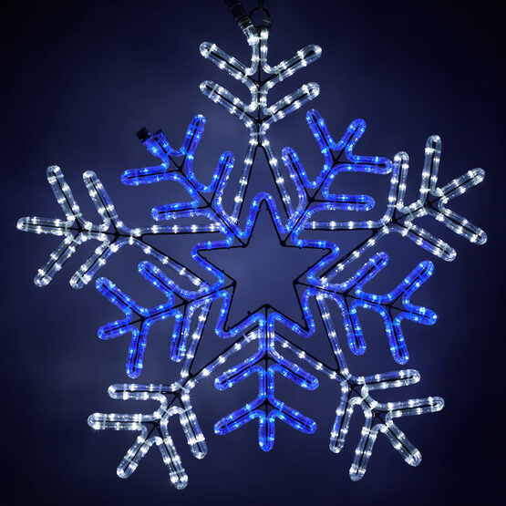 LED Snowflake with Blue Center, Blue and White Lights