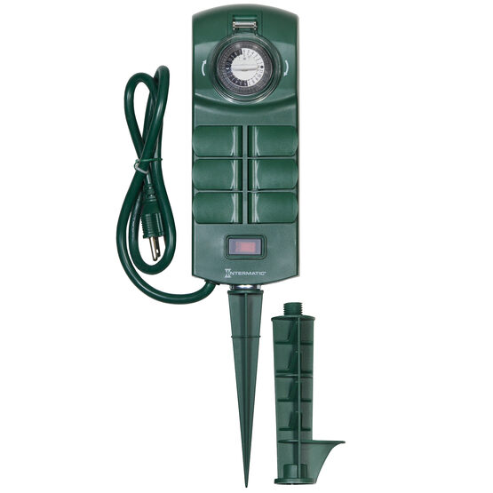 Outdoor Stake Timer with Six Grounded Outlets