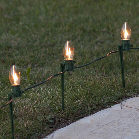 C7 Pathway Lights, Clear, 7.5 inch Stakes, 100'