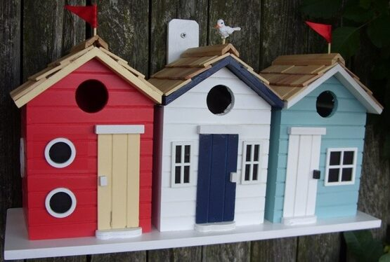 Brighton Beach Huts 3 Room Hanging Bird House