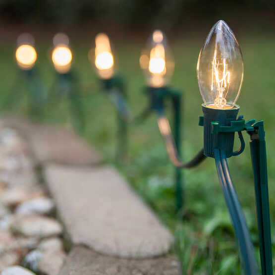 C9 Pathway Lights, Clear, 7.5'' Stakes