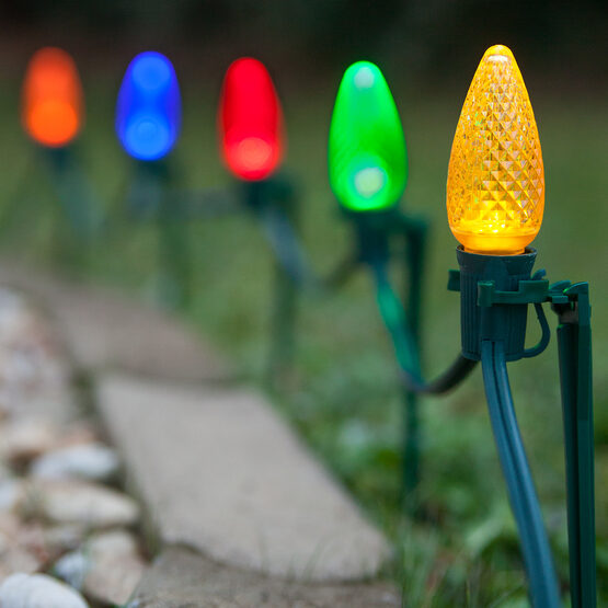 C9 LED Pathway Lights, Multicolor, 7.5'' Stakes