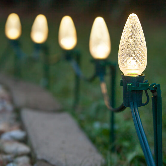 C9 LED Pathway Lights, Warm White, 7.5 inch Stakes, 100'