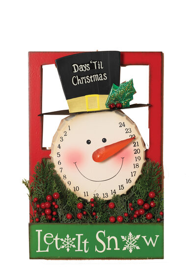Christmas Countdown Metal Snowman Advent Calendar