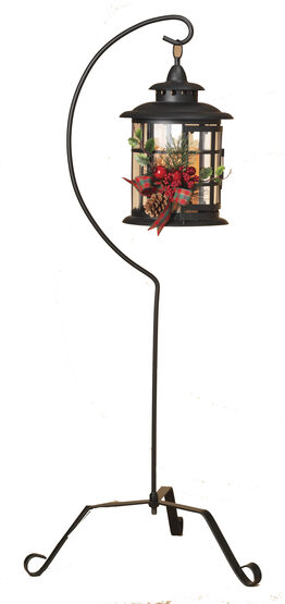 "Black Metal Lantern with 37"" Stand and LED Candle"