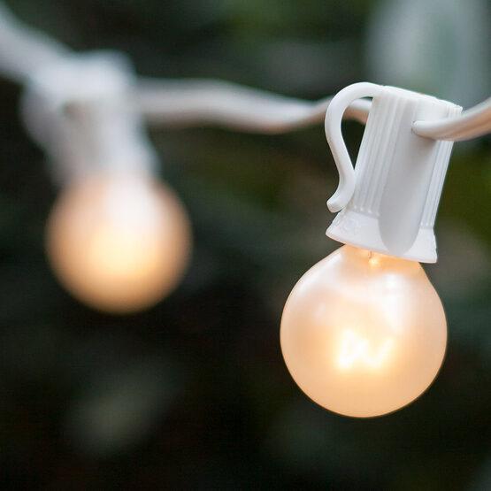 C7 Outdoor Light String, E12 Candelabra Sockets, White Wire