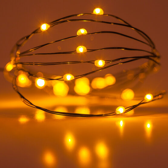 7' LED Fairy Lights, Amber, Green Wire