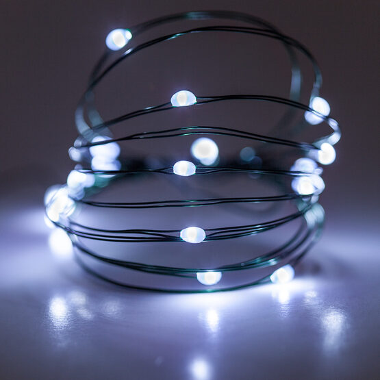 7' LED Fairy Lights, Cool White, Green Wire