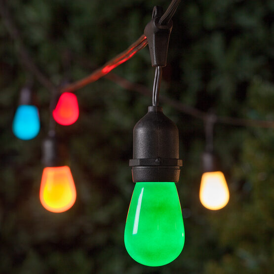 Commercial Patio String Lights, Multicolor S14 Opaque Bulbs, Suspended