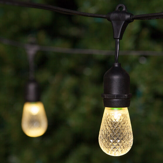 Commercial Patio String Lights, Warm White S14 LED Bulbs, Suspended