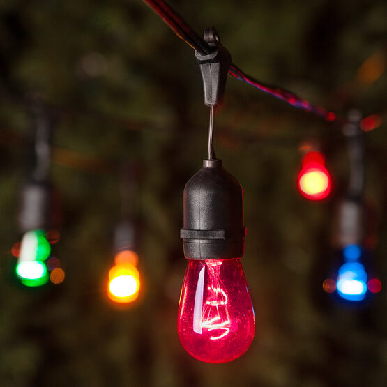 Commercial Patio String Lights, Multicolor S14 Bulbs, Suspended