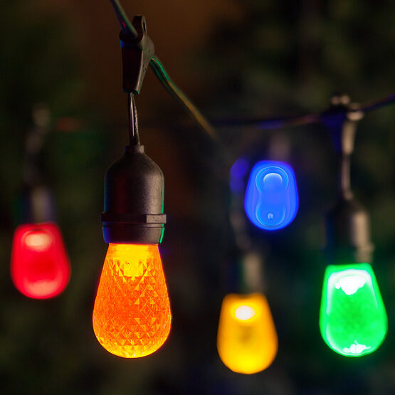 Commercial Patio String Lights, Multicolor S14 LED Bulbs, Suspended