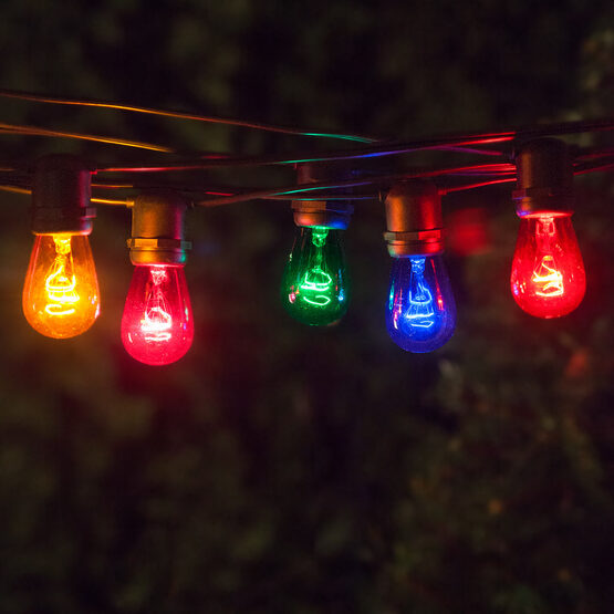 Commercial Patio String Lights, Multicolor S14 Bulbs