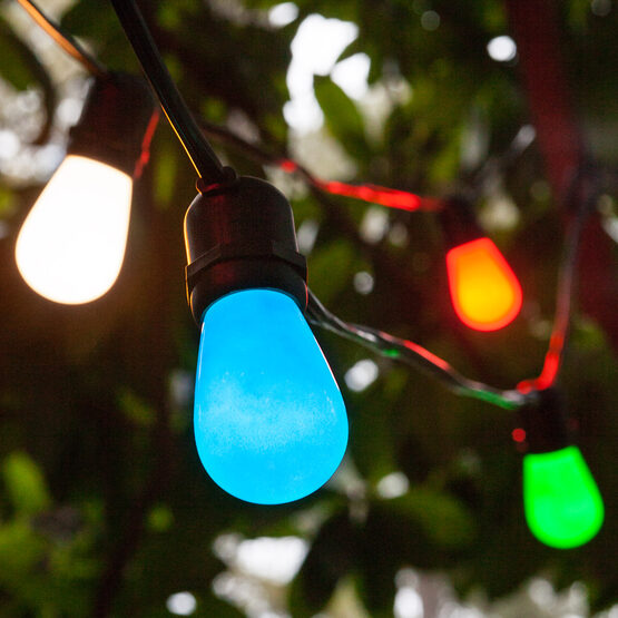 Commercial Patio String Lights, Multicolor S14 Opaque Bulbs
