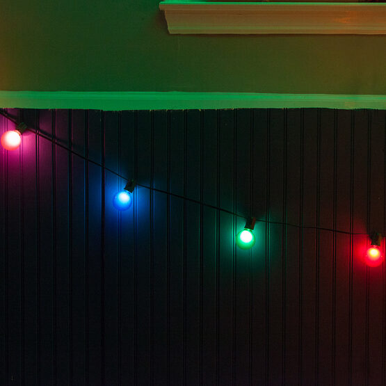Globe String Lights, Multicolor G50 Satin Bulbs