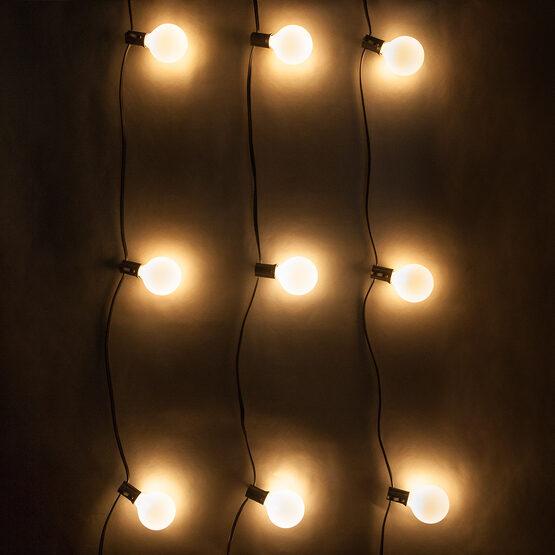 15' Globe String Lights, 15 Pearl White G50 Bulbs