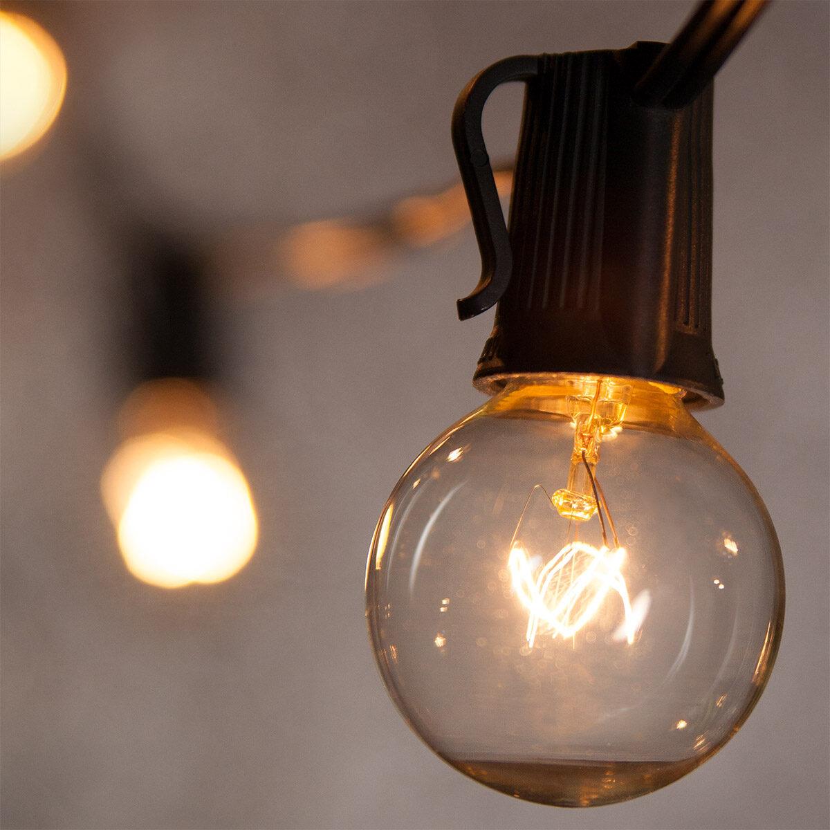 Merveilleux Globe String Lights, Clear G40 Bulbs
