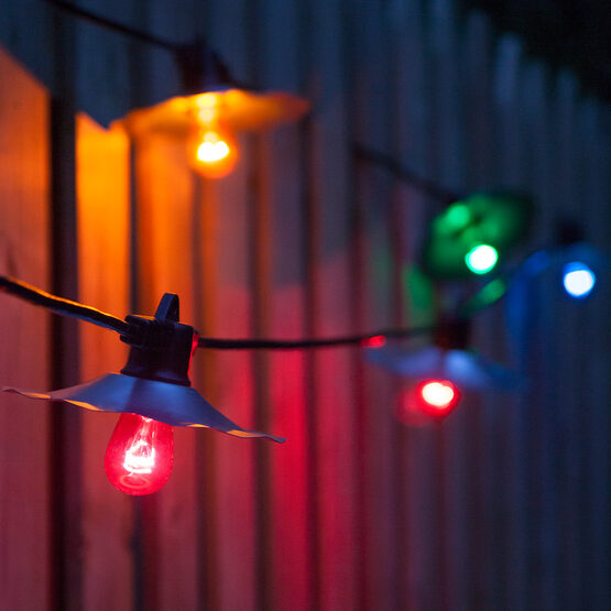 Cafe String Lights, Multicolor S14 Bulbs, Silver Shades