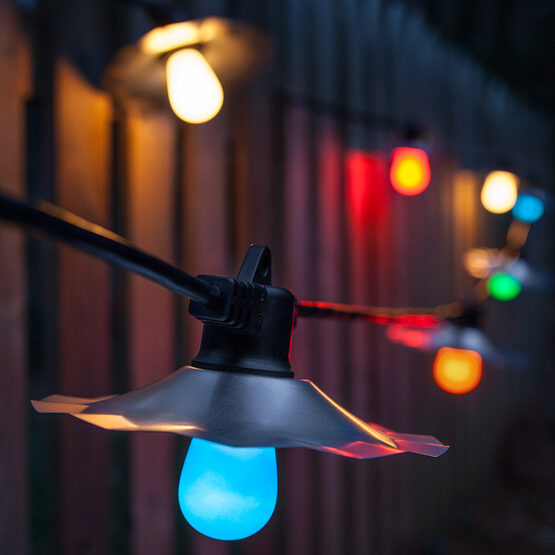 Outdoor Patio String Lights, Multicolor S14 Opaque Bulbs
