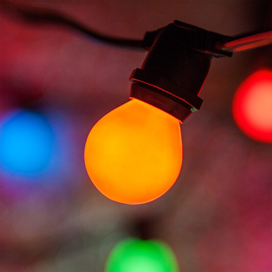 Commercial Patio String Lights, Multicolor S11 Opaque Bulbs
