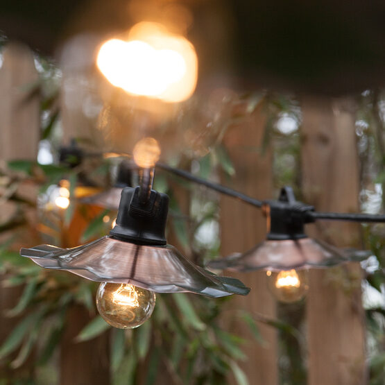 Cafe String Lights, Clear A15 Bulbs, Copper Shades