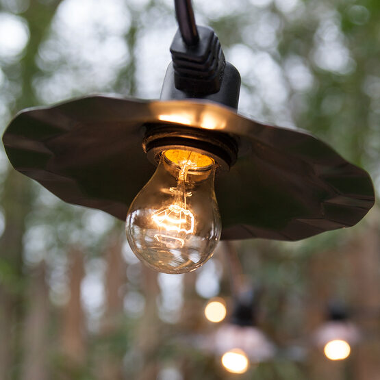 Copper Patio String Lights : Cafe String Lights, Clear A15 Bulbs, Copper Shades - Yard Envy
