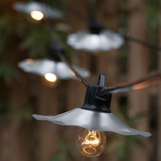 Cafe String Lights, Clear A15 Bulbs, Silver Shades